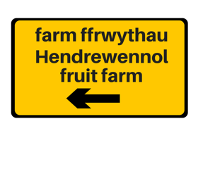 Hendrewennol yellow sign